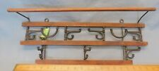 Victorian Era Antique Coat - Towel & Hat Rack  Wall Hung - Wood & Cast Iron