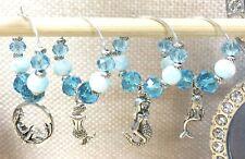MERMAID BLUE 4pc Set_Handcrafted Wine Glass Charms_Crystal Bead Siren Sea Ariel