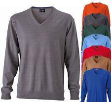 James & Nicholson Herren V-Neck Sweatshirt Pullover Pulli Jacke Shirt Gr. S-3XL