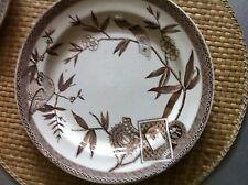"WEDGEWOOD  brown  DINNER PLATEs  10"" , ""LOUISE"" AESTHETIC TRANSFERWARE England"