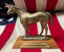 """Vintage 1977 American Quarter Horse Trophy Figural Topper 10"""" Williamsport,Md."""