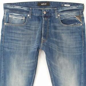 Hommes Replay MA972 GROVER Regular Straight Bleu Jeans W36 L30