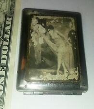 Antique metal brothel whore cat saloon nude naked lady match holder safe vesta