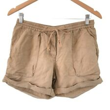 Country Road Womens Shorts Size 6 Brown Elastic Waist Linen Blend With Pockets