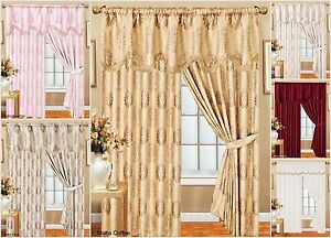 Fully Lined Ready-made Top Quality  Glittery Stripe Jacquard Malta Curtains Pair
