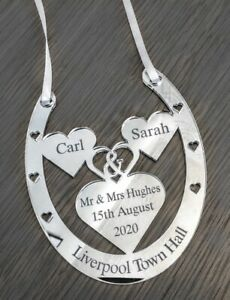 Wedding Day Gift Good Luck Horse Shoe personalised for Bride and Groom
