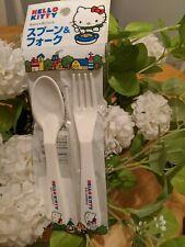 NEW Small Sanrio Hello Kitty White Plastic Spoon And Fork Set
