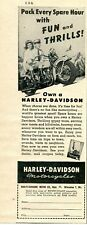 1948 small Print Ad Harley Davidson Motorcycle pack every spare hour with fun