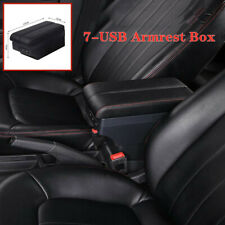 1*Car Telescopic Panel Dual Layer Storage 7USB Charge Central Armrest Box Black