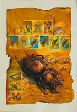 Stampa Artistica Posta le di Tecnica mista opera d'arte di hahonin/Bug/Bird/Vintage