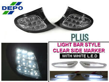DEPO White LED Clear Corner+Light Bar LED Side Marker Light For 02-05 BMW E46