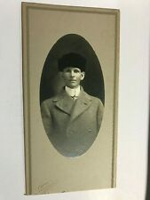 Young Man with Furry Hat Cabinet Card Photograph Urbana Ohio OH