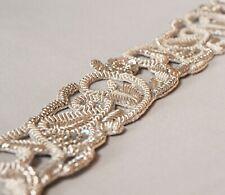 """Elegant Hand-Beaded Silver Bullion & Sequins Trim Renaissance Floral Paisley 54"""""""