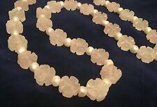 Vintage Chinese Carved Rose Quartz Shou Bead Antique Pearl Necklace