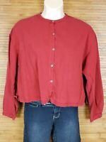 Eileen Fisher Red Tencel Blend Cropped Blouse Womens Size Large L