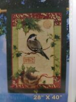 "Holiday Chickadee Breeze Art House Flag 28"" x 40"" Fade Mildew Resistant Winter"