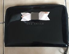 Ted Baker Black Patent Leather Women's Clutch With Baby Pink Now Zipper Closure