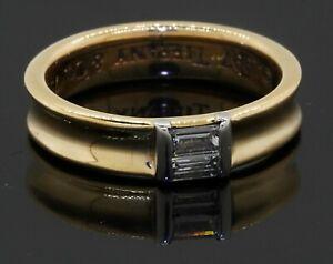 Tiffany & Co. 1997 heavy 18K 2-tone gold 0.30CT VS1/F diamond band ring size 6.5