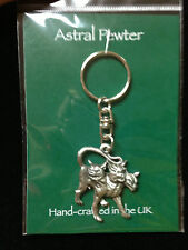 KEYRING ASTRAL PEWTER 3 HEADED DOG CERBERUS KEYCHAIN HAND CRAFTED UK FINISH NEW