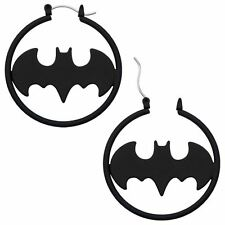 BATMAN BATGIRL BLACK MATTE HOOP EARRINGS - Official DC Comics