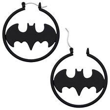 BATMAN BATGIRL BLACK MATTE HOOP EARRINGS - Official DC Comics