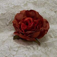 "6 Orange Variegated Wedding Rose Artificial Silk Flower 3"" Head Hair Clip Craft"