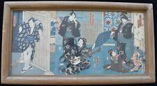 Utagawa Kunisada Toyokuni III Antique Triptych Japanese Woodblock Print 1854
