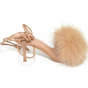 Scarpe donna sandalo beige nude mules pelliccia con tacco martini 9 cm lacci all