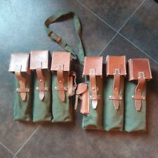 WW2 German MP44 STG44 Ammo Pouch Pair Green Canvas & Leather Top