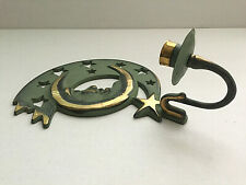Vintage Partylite Metal Candlestick Holder Moon Face Rusty Wall Mount Taiwan