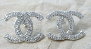 "925 Sterling Silver Big Double White Cubic Zirconia ""X"" Stud Earrings Women Gift"
