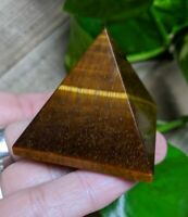 ONE (1) GOLD TIGER'S EYE Pyramid Crystal Reiki Charged Healing *Read Below*