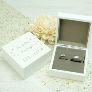 Personalised **Little Hearts** White Wooden Wedding Ring Box ANY COLOUR SCHEME