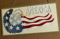 Flag Eagle AMERICA americana country home decor wooden sign 10x4.5""
