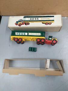 1975 HESS TRUCK TRACTOR TRAILER WITH BARRELS, INSERTS, ORIGINAL BOX