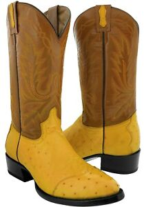 Mens Buttercup Real Ostrich Skin 3 Piece Western Leather Cowboy Boots Round