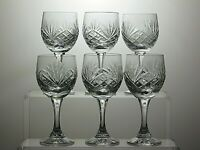 "ZAWIERCIE CRYSTAL ""MONIKA 3"" CUT SHERRY GLASSES SET OF 6"