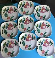 9 Red Wing Pottery USA Blossom Time Cup Saucers Cake Plates Dishes Hand Painted