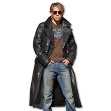 Neu Herren Offiziers Ledermantel Größe XXL 58 schwarz langer Mantel aus Leder
