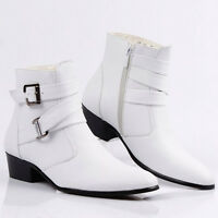 Men's Stylish High Top Buckle British Style Pointy Toe Side Zip Ankle Boots Size