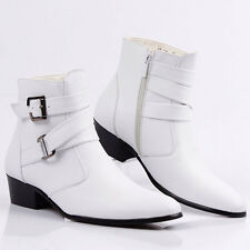 Men British Style Ankle Boots High Top Booties Buckle Pointed Toe Side Zip Shoes