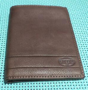 Fossil Lufkin Mens Bifold Passport ID Wallet Case Thick Dark Brown Soft Leather