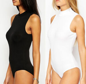 New Ladies Sleeveless 'Turtleneck Turtle Neck' Bodysuit Leotard Sexy Top