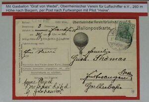 BP17) Bon Abwurfkarte Ballon Graf Frondes 30.8.1899 Ak Image Aérienne Haguenau C