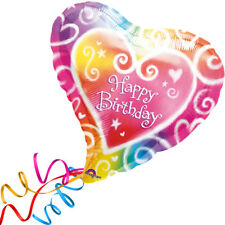 >> Fertig Helium-befüllt  << Großer Folienballon Herz bunt Happy Birthday Ballon