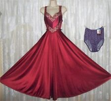 VTG Cranberry UCW Full Sweep Nightgown Negligee Gown XL OLGA Panties NWT 8 XL
