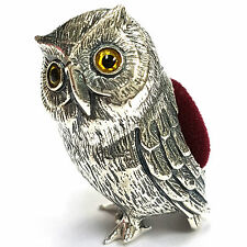 VICTORIAN STYLE LARGE OWL PIN CUSHION 925 SOLID SILVER HALLMARKED