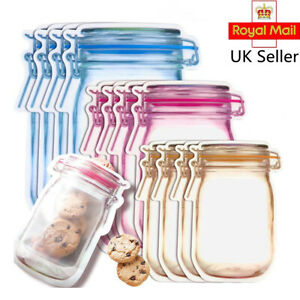 Mason Jar Bottle Freezer Bag Fresh Food Storage Bags Snack Zipper Pouch Reusable