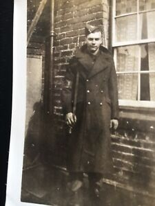 WWII 2 SNAPSHOTS SAME YOUNG MAN HOME GUARD IN UNIFORM ARM BAND  HOME FRONT