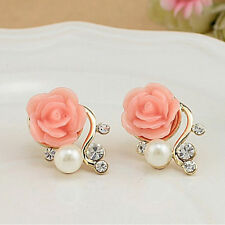 Women Sweet Earings Rose Shaped Artificial Pearl Diamond Stud Earrings Tb